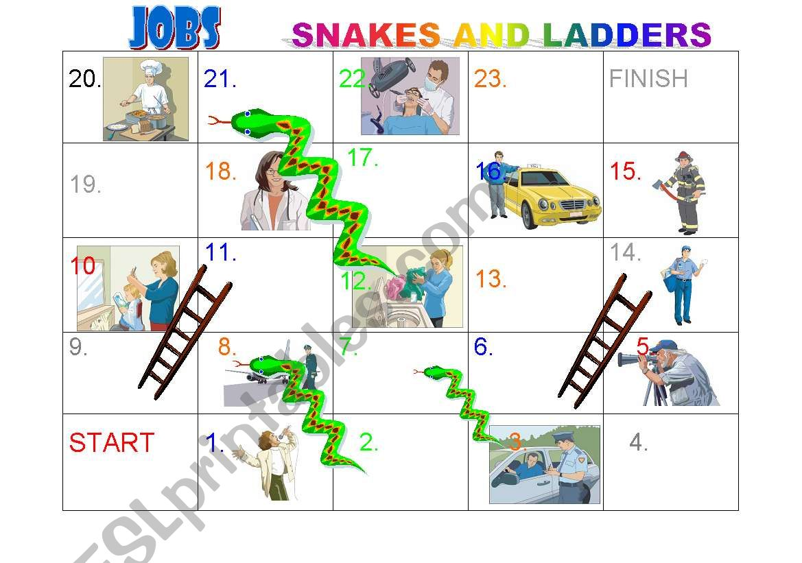 Jobs Snakes And Ladders Board Game