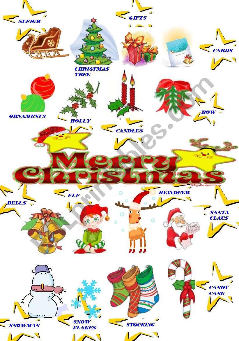 hight resolution of CHRISTMAS CLIPART - ESL worksheet by majcek