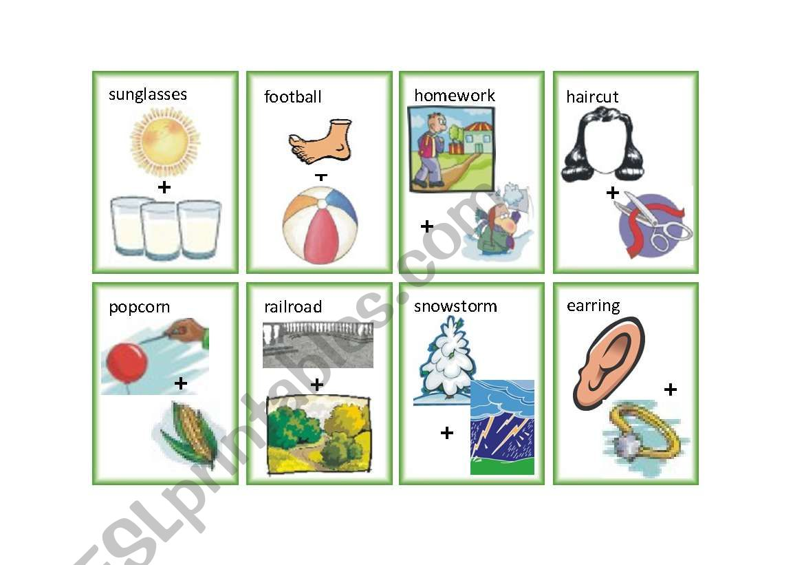 English Worksheets Compound Word Flash Cards