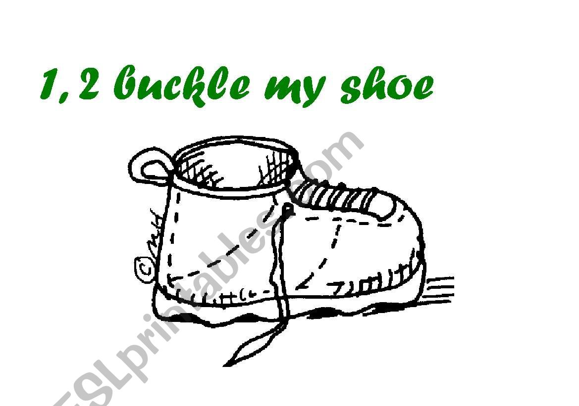 English Worksheets 1 2 Buckle My Shoe