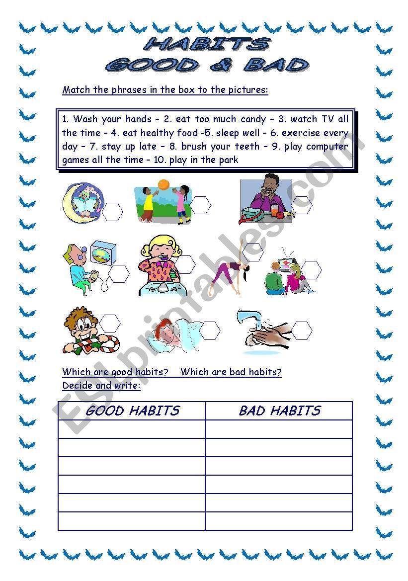 hight resolution of 34 Good Habits Vs Bad Habits Worksheet - Free Worksheet Spreadsheet