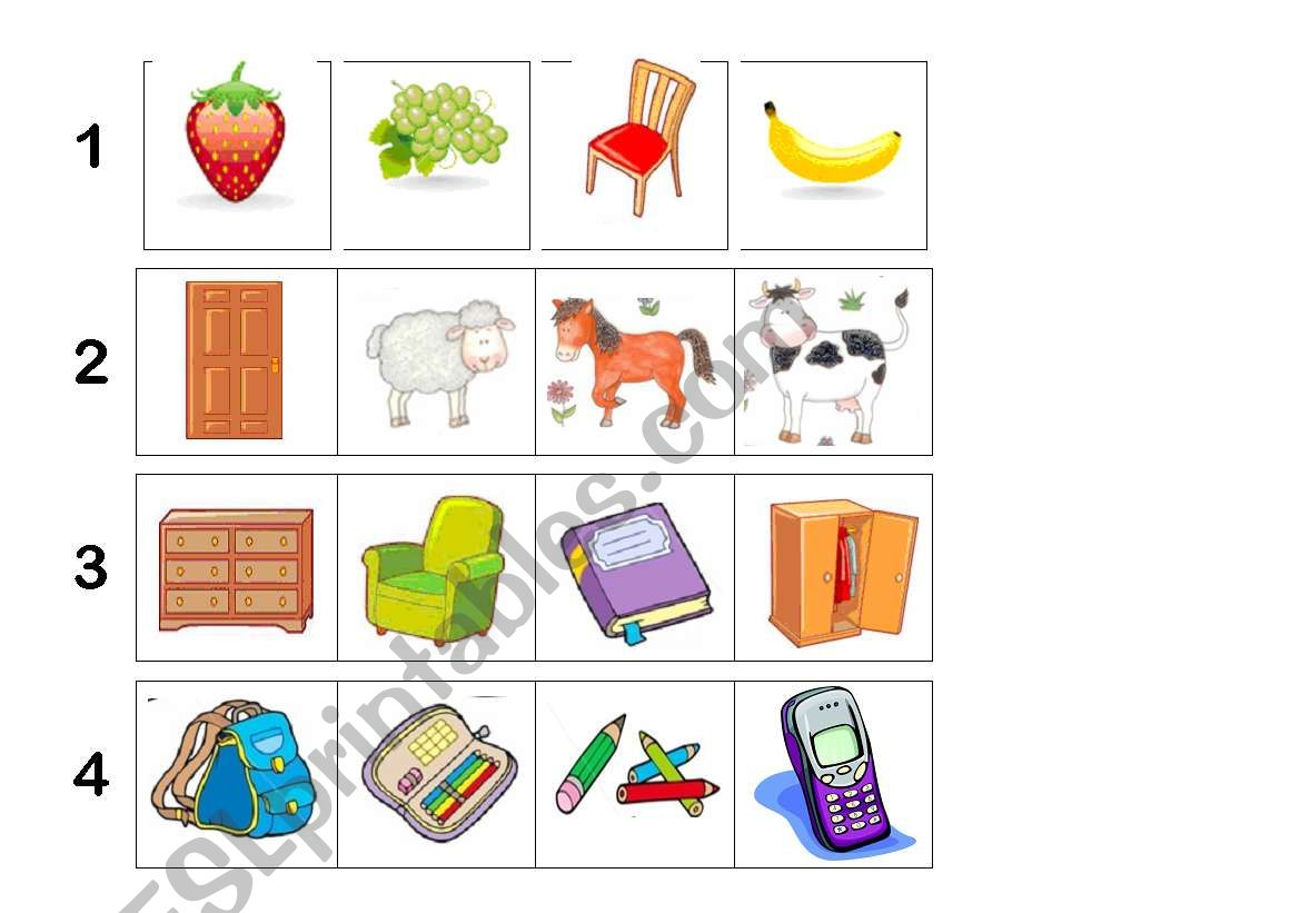 English Worksheets Odd One Out 1