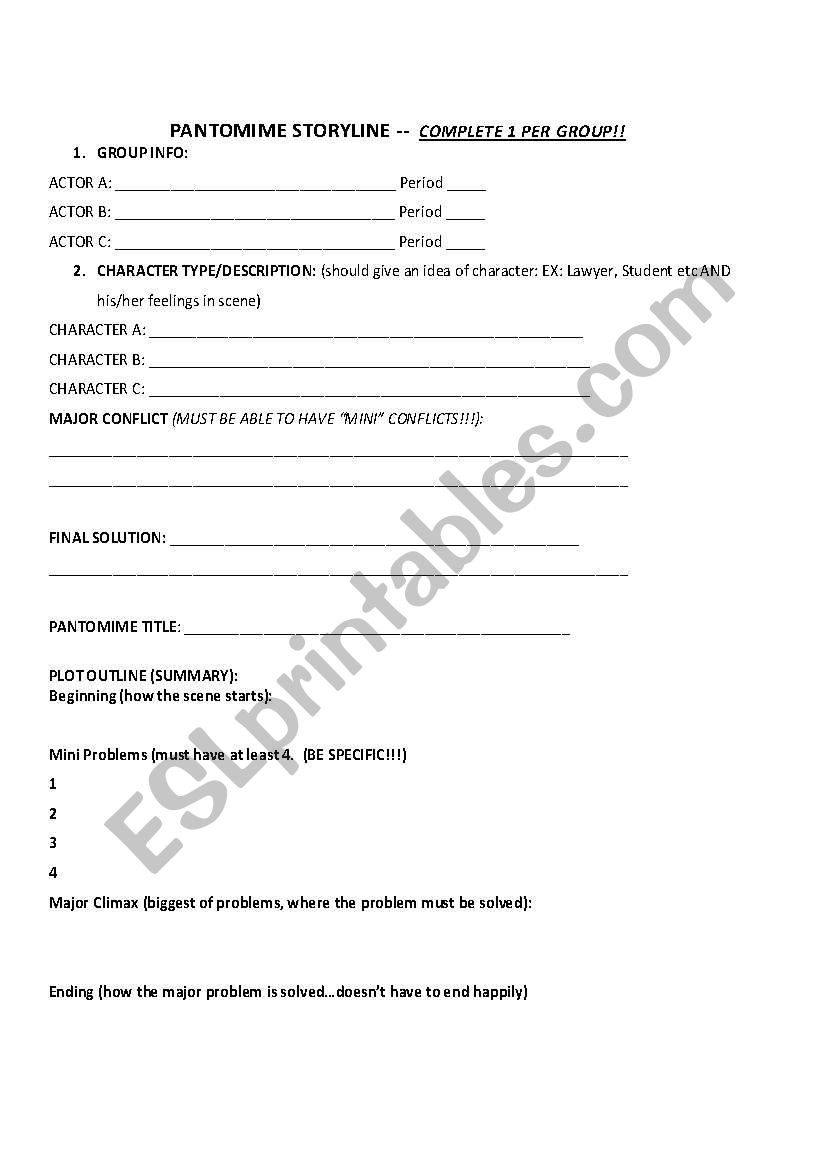 English Worksheets Pantomime Story Outline