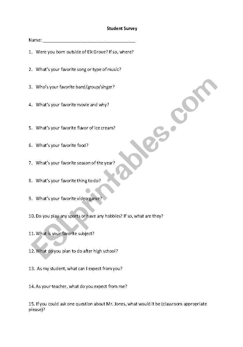 English worksheets: Student interest survey
