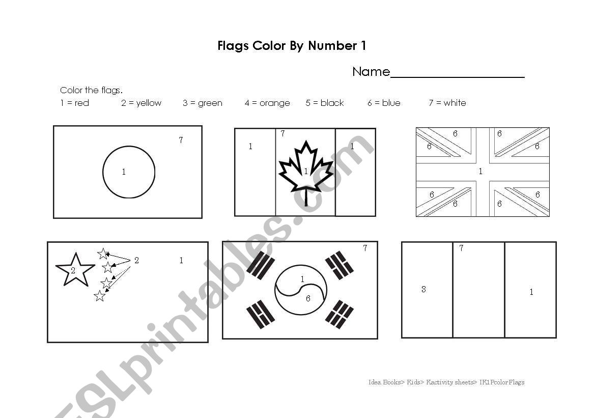 English Worksheets Flags Color By Number