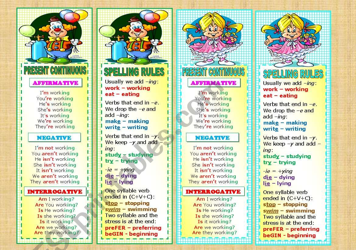 Bookmarks With Present Continuous And Spelling Rules