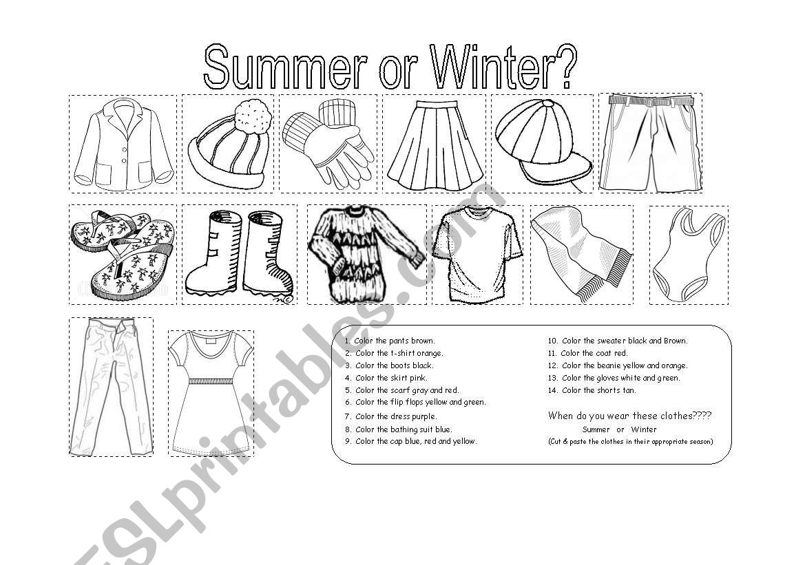 Clothes For Summer Or Winter 2 Pages
