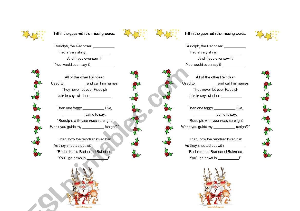 English Worksheets Song