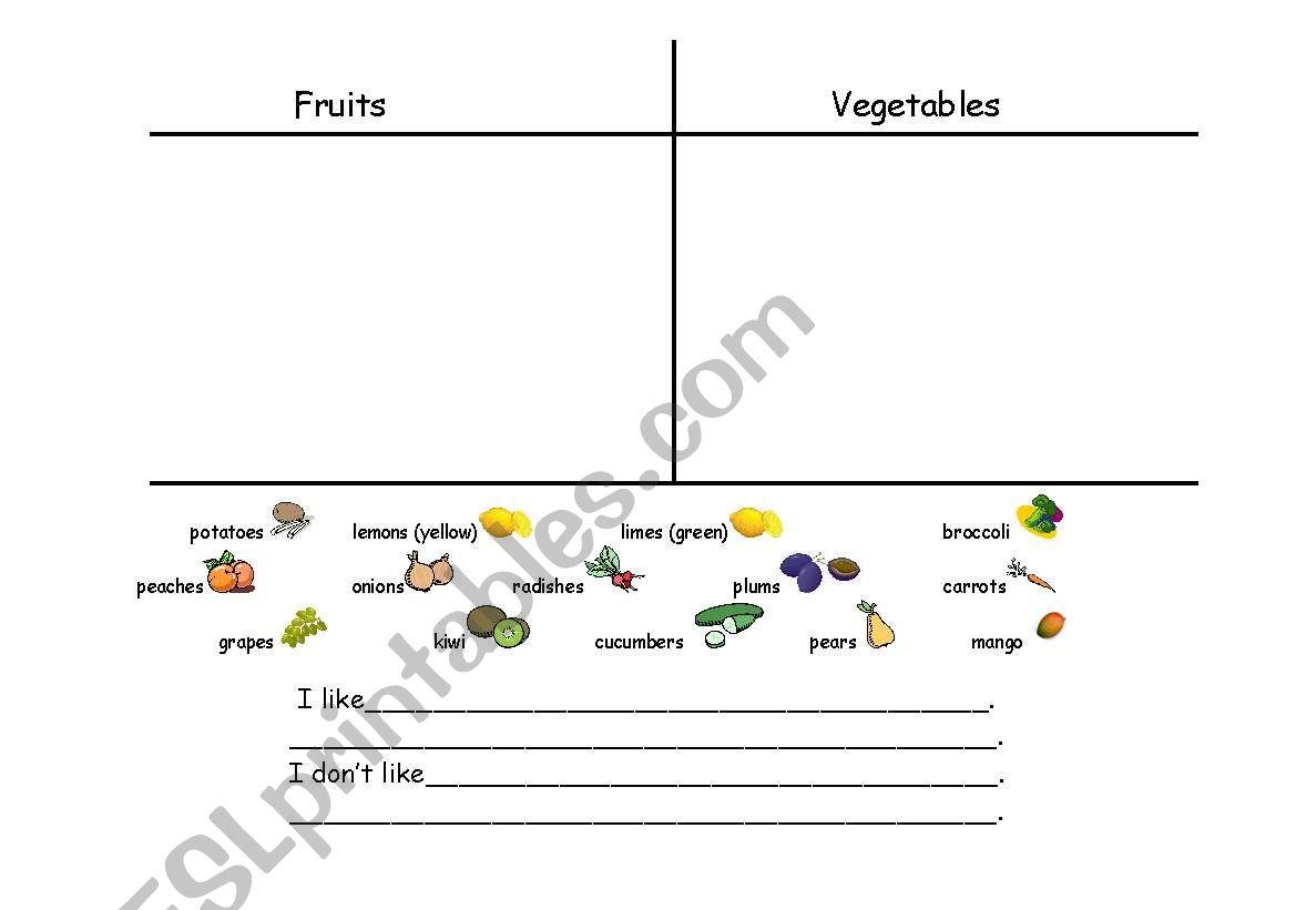 English Worksheets Fruit Amp Vegetable Sort