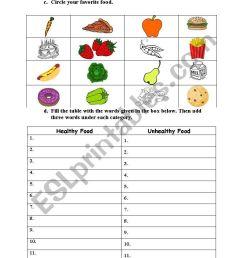 Healthy and Unhealthy Food - ESL worksheet by jane_austen [ 1169 x 821 Pixel ]