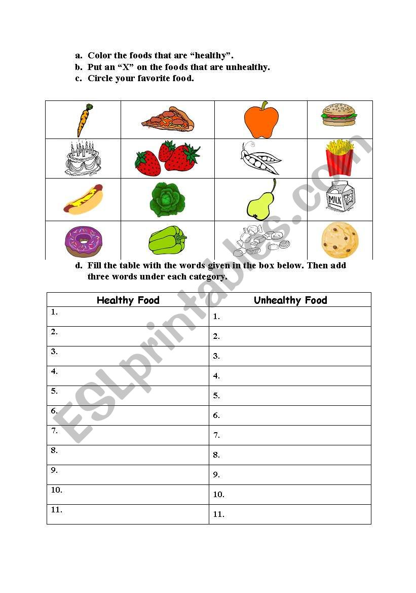 hight resolution of Healthy and Unhealthy Food - ESL worksheet by jane_austen