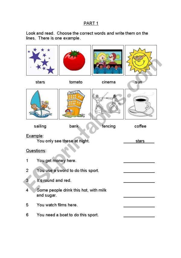 English Worksheets Movers Exam Cambridge Yle Set 1