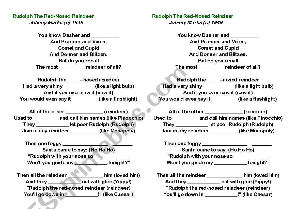English Worksheets Rudolph Christmas Carol Lyrics