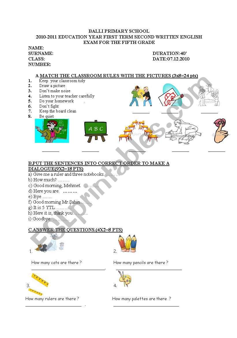 medium resolution of exam for 5th grade students - ESL worksheet by nurkutlu