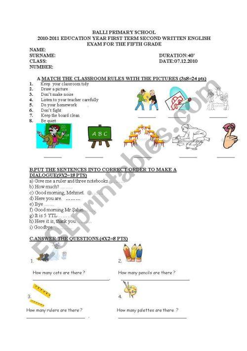 small resolution of exam for 5th grade students - ESL worksheet by nurkutlu