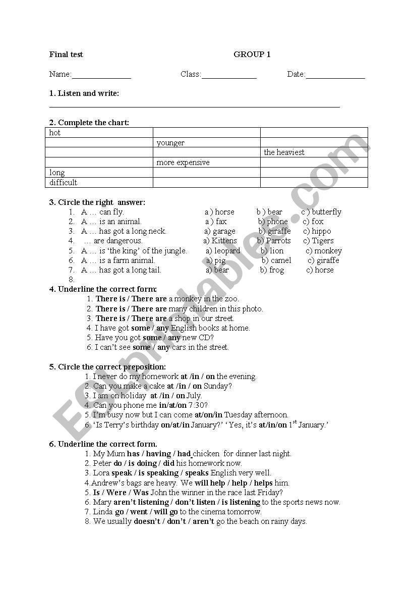 medium resolution of Final test - 4th grade - ESL worksheet by mary_mb