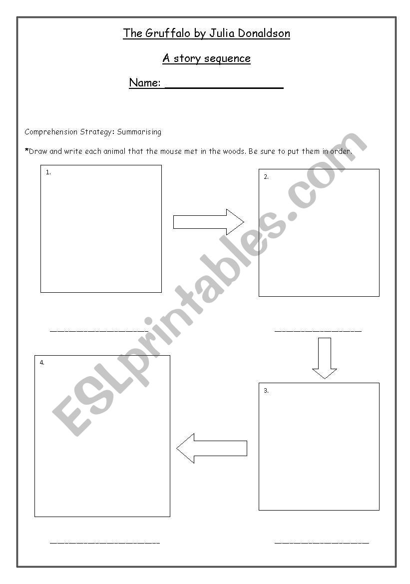 English worksheets: The gruffalo story sequence activity