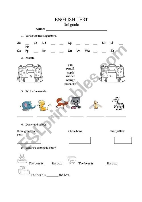 small resolution of English test for 3rd grade - ESL worksheet by mary_mb