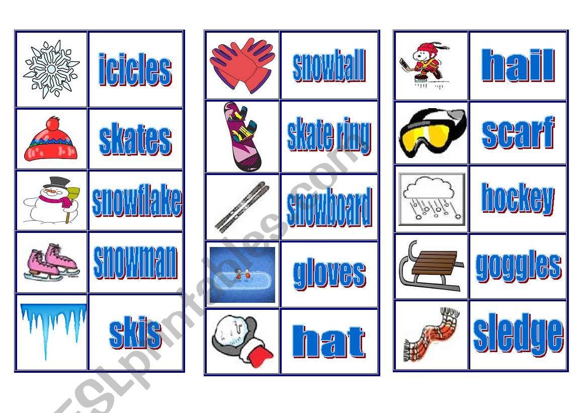 Winter Vocabulary Domino