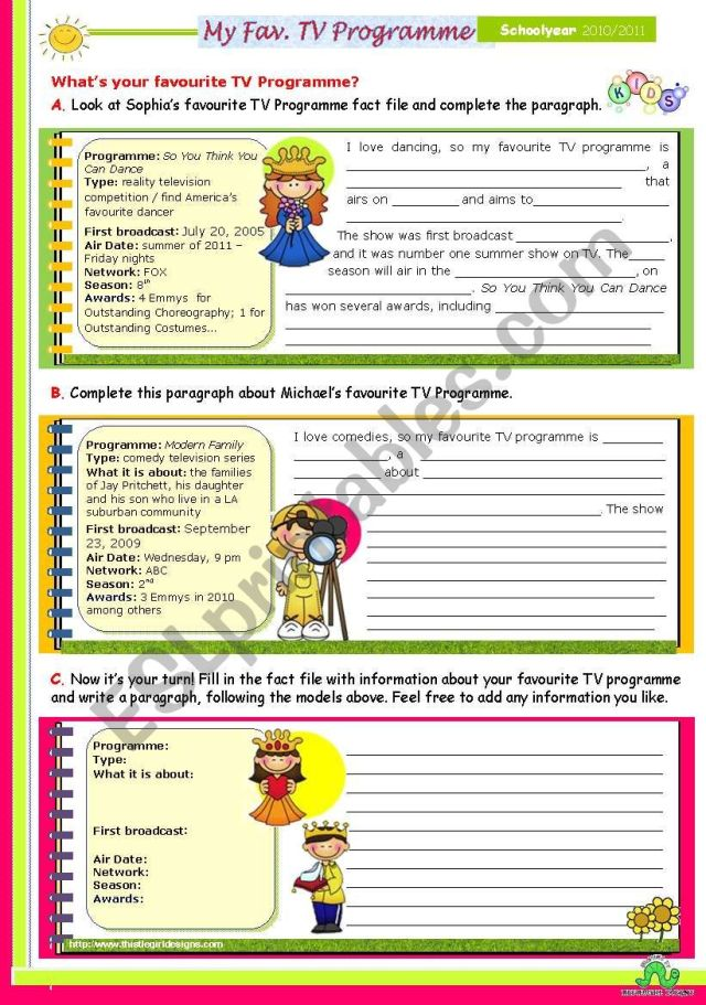 My Favourite TV Programme - Guided Writing - ESL worksheet by mena30