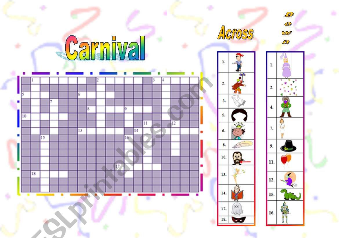 English Worksheets Carnival Crossword Puzzle