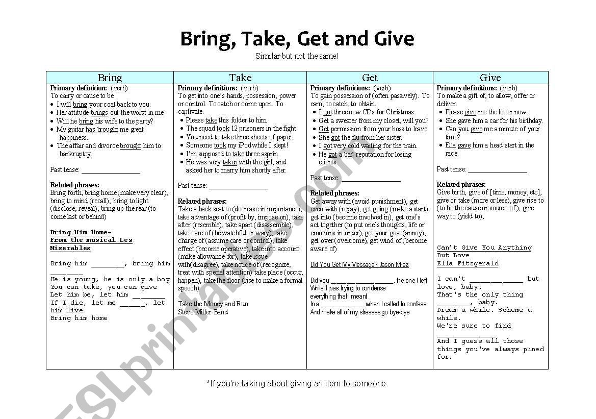 Bring Take Get And Give