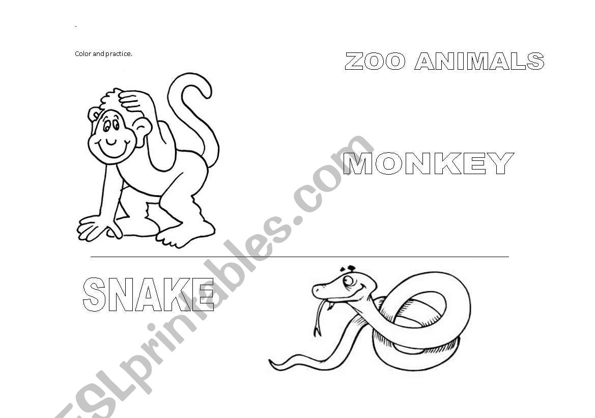 English Worksheets Zoo Animals Part2