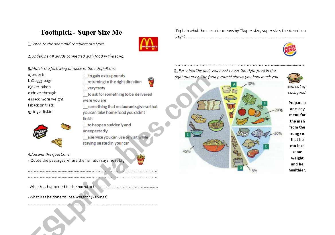Supersize Me Song Activities Fast Food