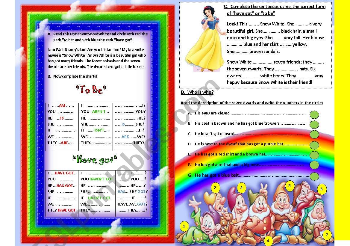 To Be And Have Got With Snow White Aand The Seven Dwarfs