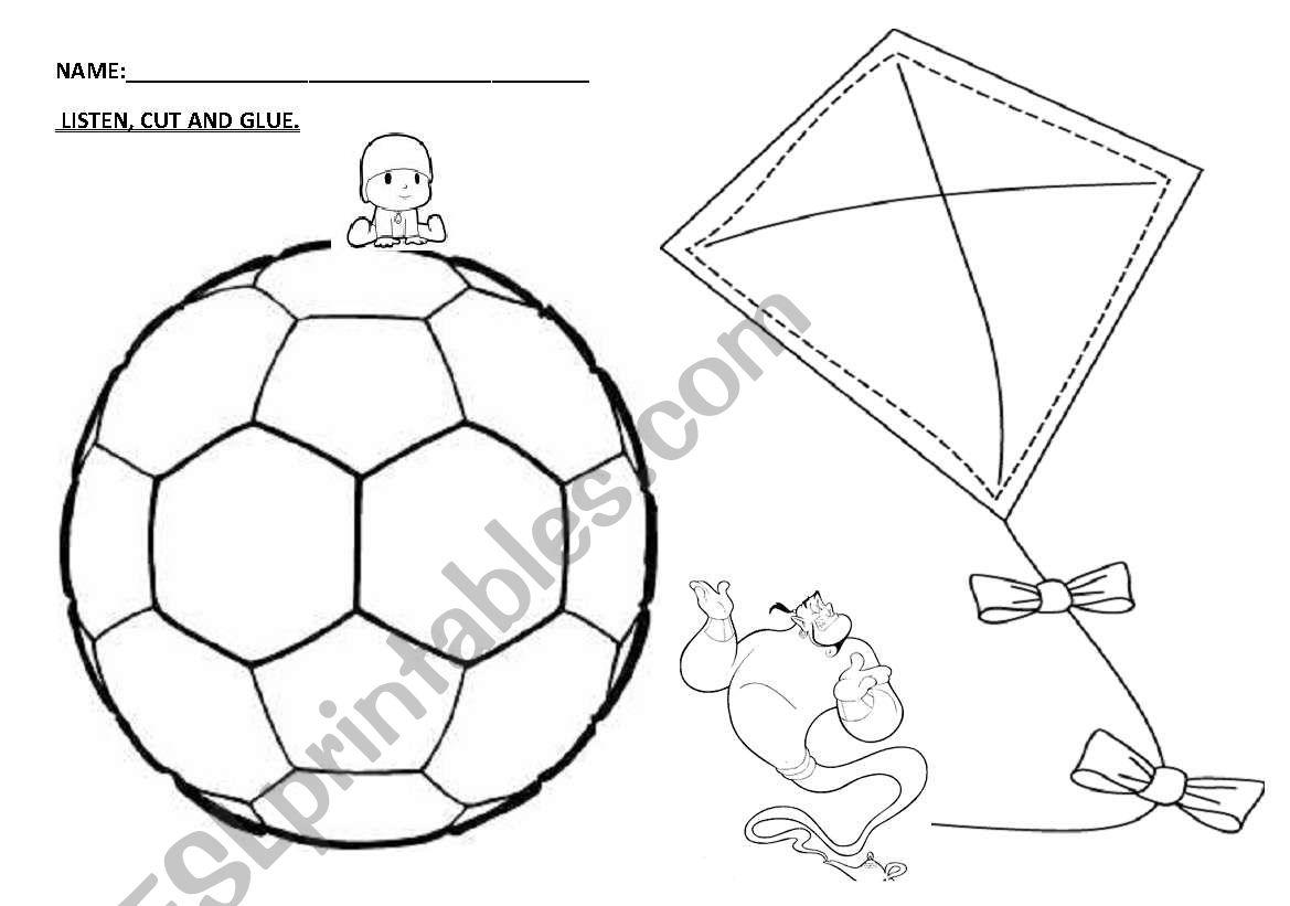 English Worksheets Kinder Ball Kite