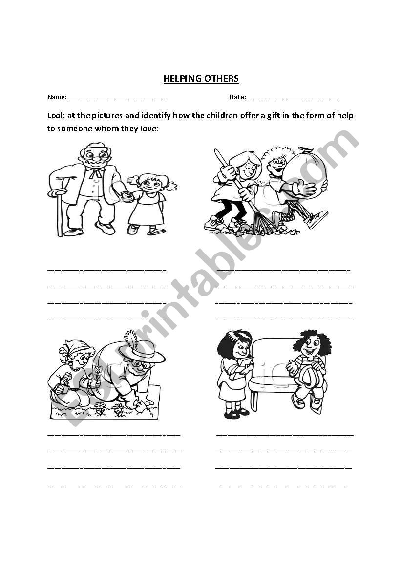 English worksheets: HELPING OTHERS