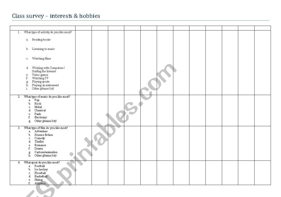 English Worksheets Class Survey About Interests Amp Hobbies
