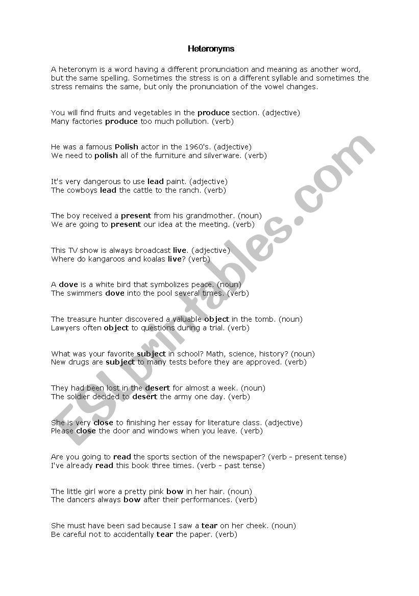 English Worksheets Heteronyms
