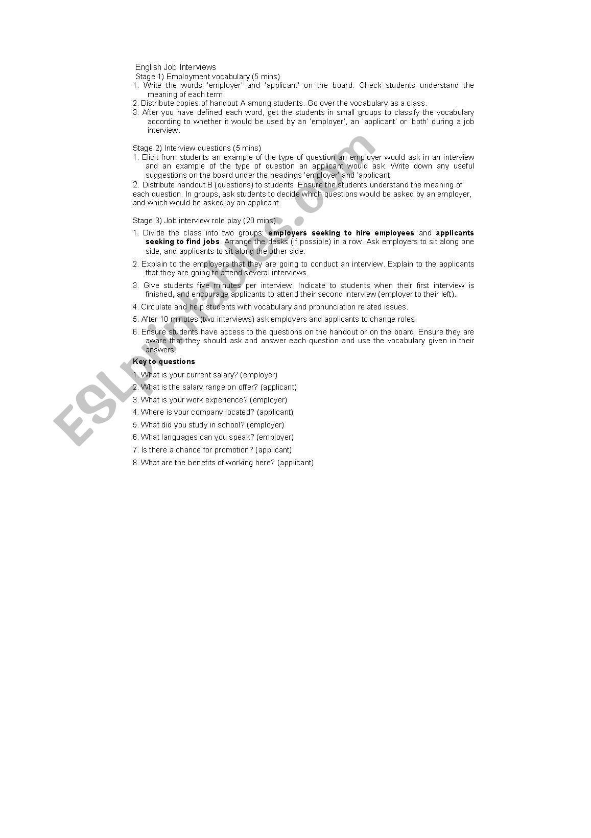 English Worksheets Job Interview