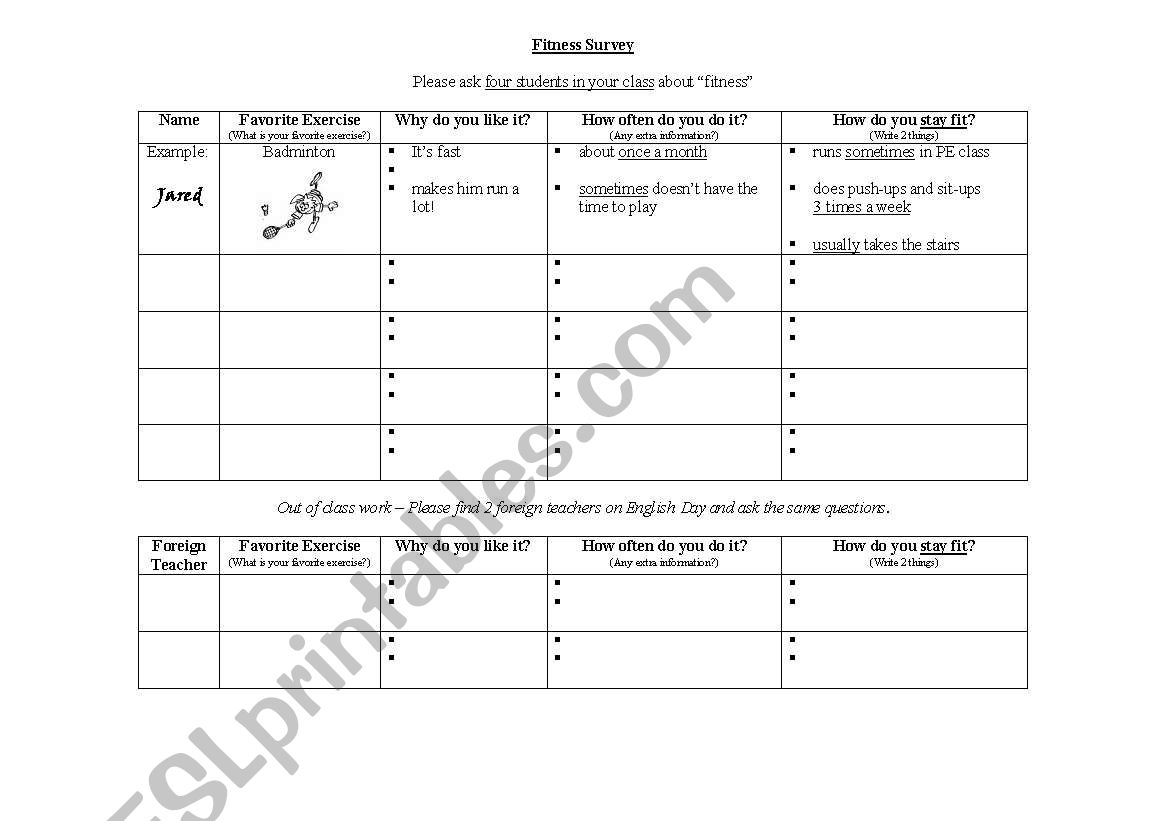 English Worksheets Fitness Survey