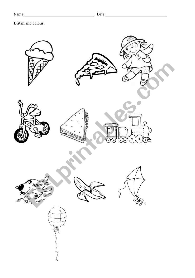 English worksheets: foods and objects coloring (listening