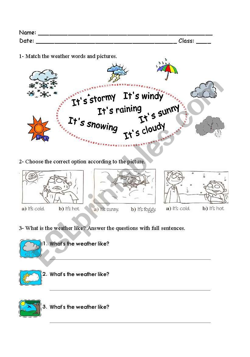English worksheets: worksheet about weather