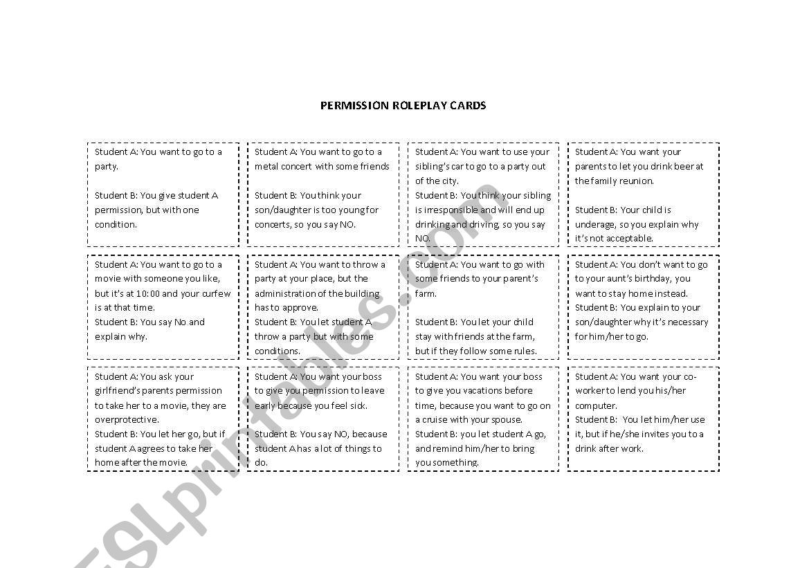 Permission Roleplay Cards