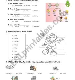 PARTS OF BODY-PREPOSITIONS-FAMILY MEMBERS WORKSHEET - ESL worksheet by  ozkan61 [ 1169 x 821 Pixel ]