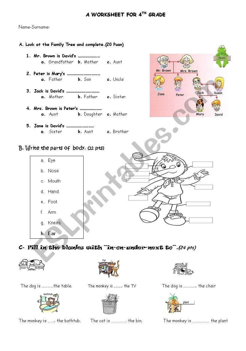 medium resolution of PARTS OF BODY-PREPOSITIONS-FAMILY MEMBERS WORKSHEET - ESL worksheet by  ozkan61