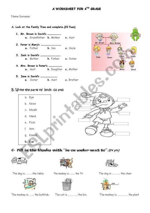 small resolution of PARTS OF BODY-PREPOSITIONS-FAMILY MEMBERS WORKSHEET - ESL worksheet by  ozkan61