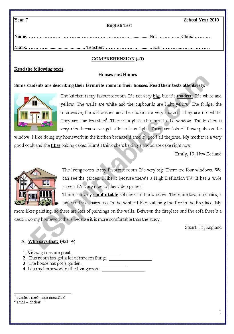 medium resolution of TEST 7th GRADE - ESL worksheet by coasvaf