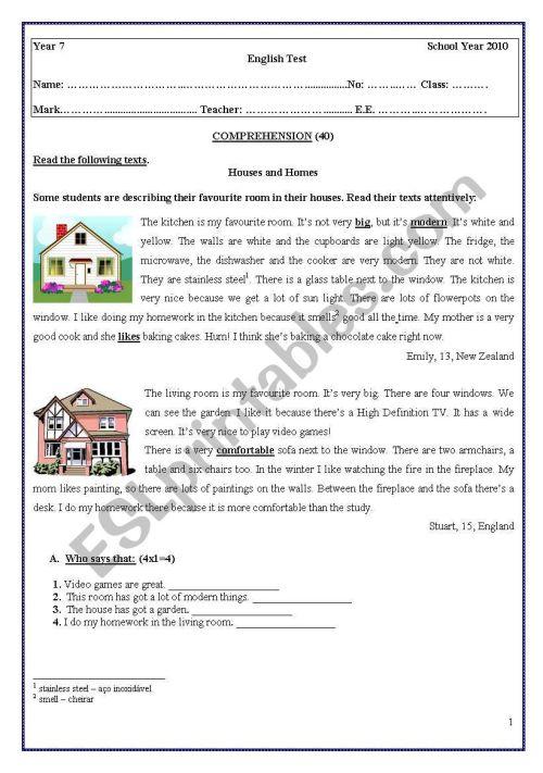 small resolution of TEST 7th GRADE - ESL worksheet by coasvaf