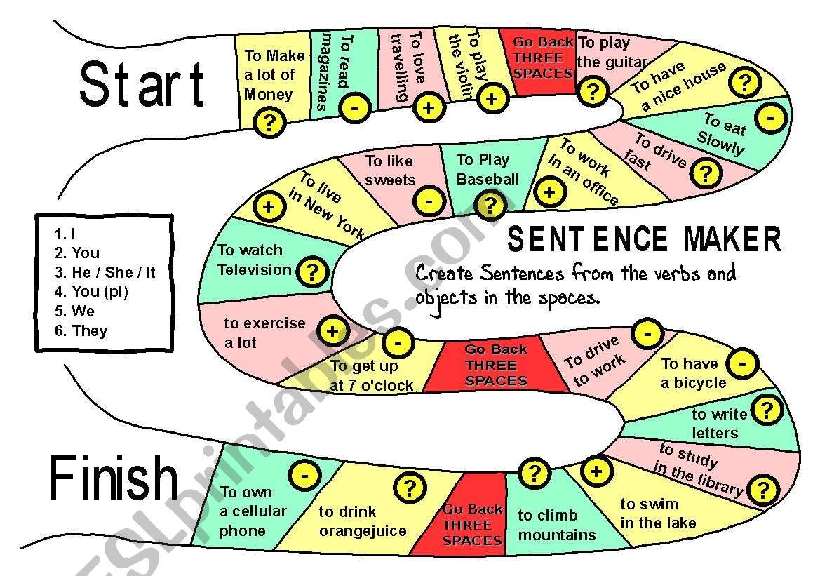 Sentence Maker Boardgame