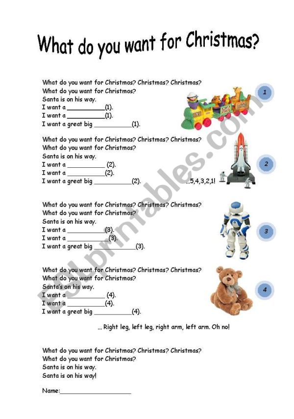 What do you want for christmas lyrics ESL worksheet by