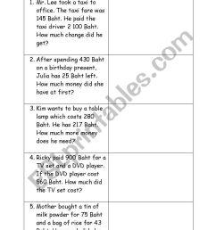 English worksheets: Math Money Word problem [ 1169 x 821 Pixel ]