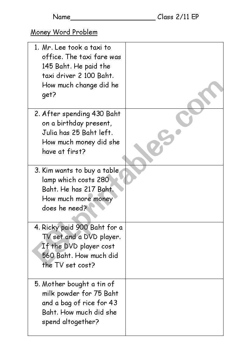 medium resolution of English worksheets: Math Money Word problem