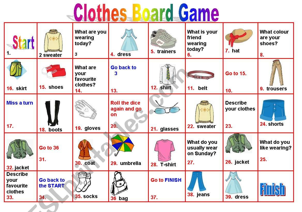 English Worksheets Clothes Boardgame
