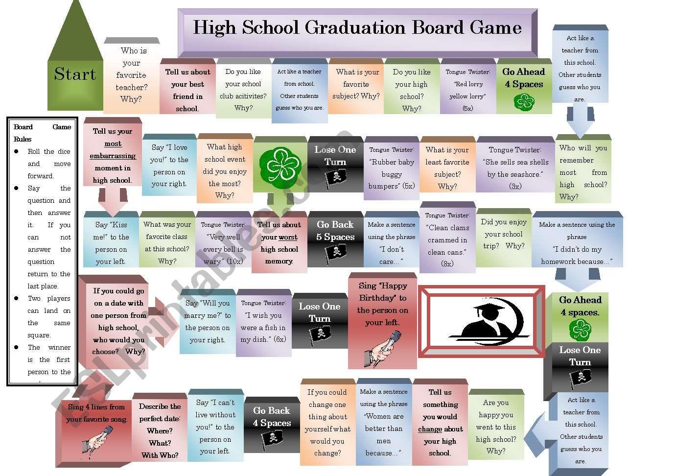 High School Graduation Board Game