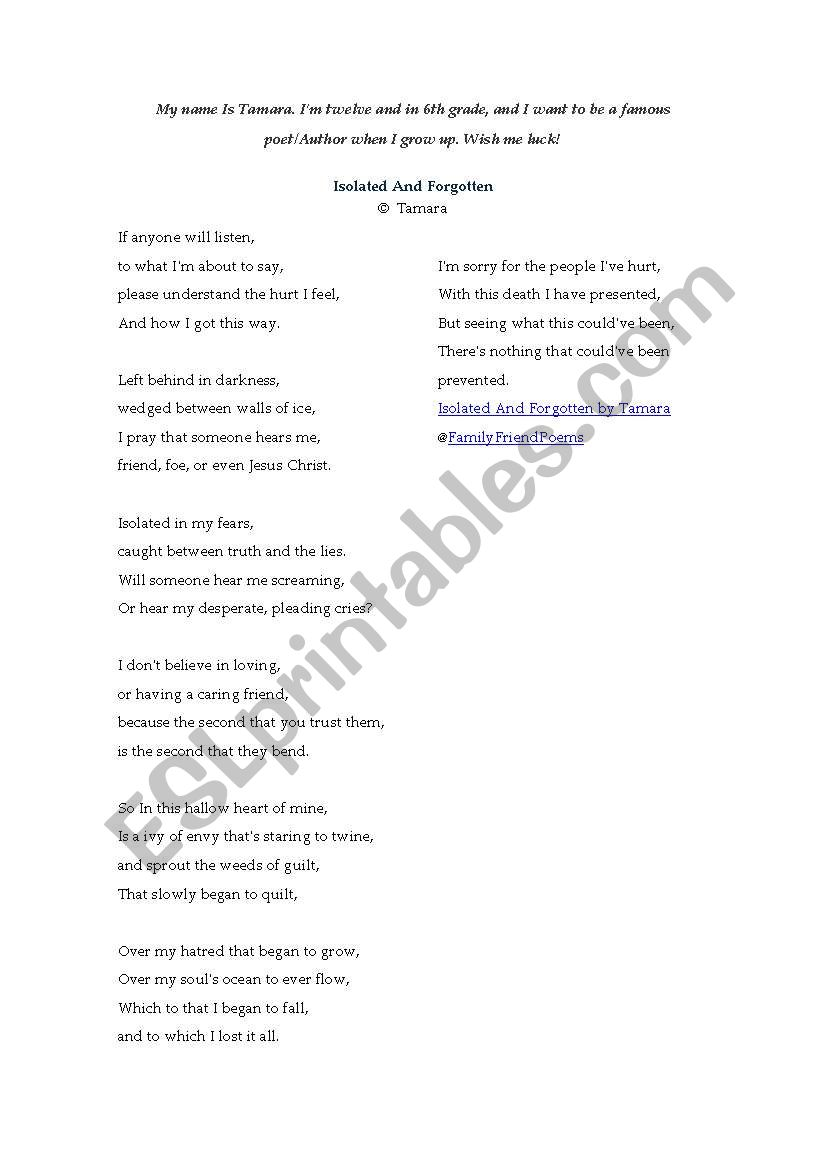 medium resolution of English worksheets: analysing a sarcastic poem